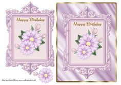 Lilac Daisies Card Front on Craftsuprint - Add To Basket!