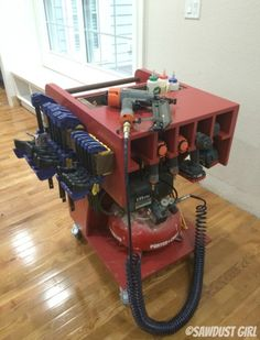 Rolling Air Compressor and Tool Organizing Work Cart #DIY #Ad #SeriouslyStrong @scotchbrand