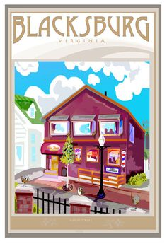 Blacksburg Hokie House by BlacksburgArt on Etsy, $45.00 <3.  Wow who knew where I spent all my money in college would be art!!!