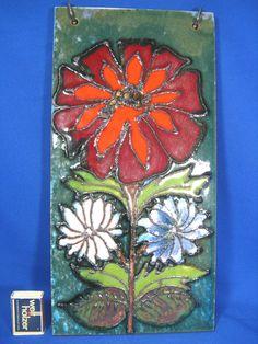 Beautiful  70´s Flower Power Design Heibi Keramik pottery wall plaque 40 x 20
