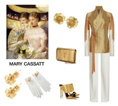 """Mary Cassatt Influenced"" by scolab ❤ liked on Polyvore featuring Brandon Maxwell, Rick Owens, Yves Saint Laurent, Giuseppe Zanotti, Wild Rose, Hermès and Jennifer Behr"