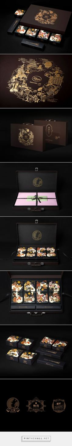 Originality of the Disney's Minguo style Moon cake on Behance curated by Packaging Diva PD. Very beautiful Disney packaging that is hard to see because of the black. Originality of the Disney's Cool Packaging, Tea Packaging, Luxury Packaging, Brand Packaging, Design Packaging, Custom Packaging, Design Logo, Web Design, Identity Design