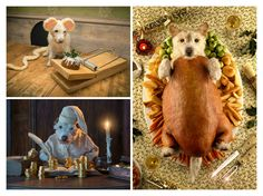Since 20 years, photographer Peter Thorpe has a wonderful Christmas tradition. For his annual holiday card, using elaborate costumes, he transform his dog into different animals. It's hilarious fun, and very clever. His dog named Raggle is his current subject, and a very patient one. This year he dressed up as an adorable mouse, complete with ears, tail and a mousetrap baited with a tasty holiday cake. Raggle as a Mouse, 2014 Raggle as a Bird, 2013 Raggle as a Scrooge, 2012 Raggle as a…