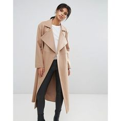 French Connection Camel Longline Coat (£230) ❤ liked on Polyvore featuring outerwear, coats, tan, tan camel coat, camel coat, reversible coat, french connection and long length coats