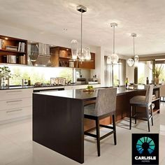Taylor Hickman saved to Home decorKITCHEN: Island Bench   Waterfall Edge   Feature Lighting   Carlisle Homes Sanctuary 48   Somerfield Estate, Keysborough   Recreate this look @ http://www.carlislehomes.com.au/inspire/collections/urban-glamour/ #homedesignideas #kitchendecor #kitchens #kitchendesign