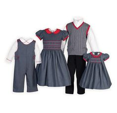 bdd997d8df0 Charcoal Classic Hand-Smocked Brother-Sister Outfits