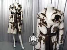 Vintage 70s Cow Print White Faux Fur Coat Brown Leather Trim Belted Coat Winter Jacket Mod Coat Knee Length Patchwork Bohemian Outerwear