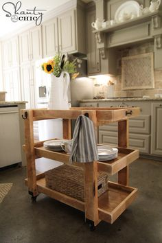 DIY Rolling Storage Cart! Perfect for the kitchen, but it can be easily moved around your home as needed! FREE plans and tutorial at Shanty-2-Chic.com