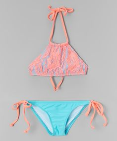 dee0d4c9d3 Look at this Daisy s Swimwear Coral   Blue Floral Lace High-Neck Bikini -  Toddler   Girls on today!