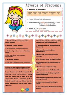 Adverbs of Frequency Adverb Activities, Time Activities, Writing Activities, English Resources, English Activities, Grammar Book, English Grammar, Types Of Verbs, Worksheets