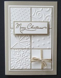 pressure embossed card with texture folders - or you could also do this with white ink and white embossing powder too.