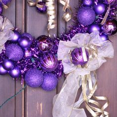 Purple and Gold Christmas Wreath with White by SummerWilson8