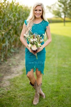 Teal Lace Dresses with Cowboy Boots
