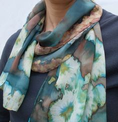 Teal and brown hand painted Silk Scarf  with Tie Dye by SunandSilk, $58.00
