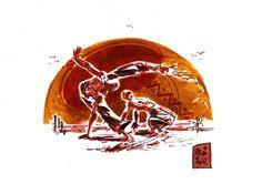 Encres : Capoeira-52 [ #capoeira #ink #painting ]