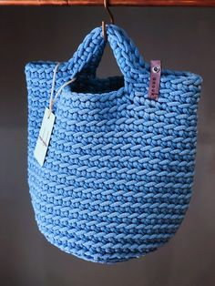 Crochet Rope Tote Bag Knitted Handbag SKY BLUE color by anoukseydou on Etsy Crochet Tote, Crochet Handbags, Scandinavian Style, Tenerife, Tote Bags Handmade, Market Bag, Knitted Bags, Crochet Blanket Patterns, Beautiful Crochet
