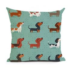 Christmas Dachshund - Green Pillow Case