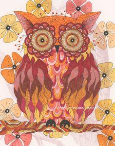 "Whimsical Owl Painting Archival Print 8 X 10 ""Avalon"""