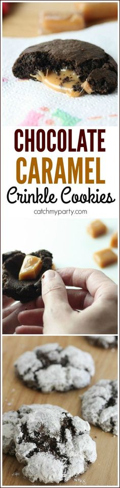 Easy caramel chocolate crinkle cookie recipe. We jazzed up our homemade chocolate crinkle cookies with caramel inside. Sticky deliciousness! Happy to have Bounty Winter Pop Prints Paper Towels for cleanup.  | http://CatchMyParty.com #quickerpickerupper #ad #holidayprep