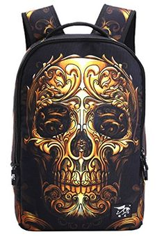 00914d2905 YAAGLE Skull 22L Personality Creative Printing Backpack for Youth Teenager  Student