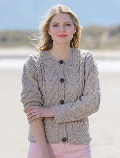 1ecaf68a9 ladies aran jacket knitting pattern pdf womens shawl collar cable ...