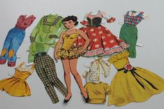 Vintage Collection 1950s Paper Dolls Clothes Cut Out Dolls Clothes with Tabs