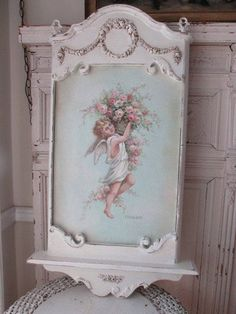 OMG ORIGINAL Christie REPASY PAINTING ANGEL CHERUB BASKET of ROSES in OLD FRAME
