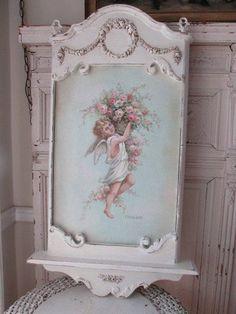 OMG ORIGINAL Christie REPASY PAINTING ANGEL CHERUB BASKET of ROSES in OLD FRAME