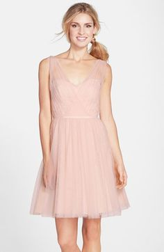 Monique Lhuillier Bridesmaids Tulle Overlay Lace Fit & Flare Dress available at #Nordstrom (Caitlin's wedding)