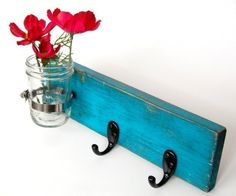 wall key hanger with vase Dark Turquoise on Etsy by OldNewAgain