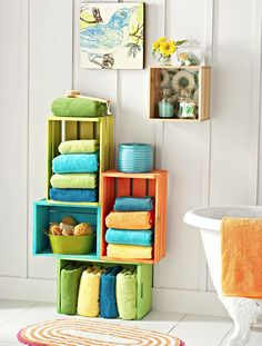Crates make bathrooms lovely!