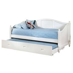 Twin size Louver White Wood Daybed with Roll-out Trundle Bed