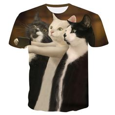 New 2018 Surprised cats t-shirt unisex cuddly 3 pair Selfie Cool cat awesome t shirt women men summer tee shirt camisas mujer 3d T Shirts, Cool T Shirts, Funny Tshirts, T Shirts For Women, Cool Cats, Cute, Prints, Selfie, Unisex