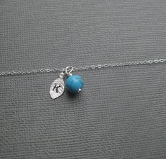 Turquoise initial Leaf Necklace, Sterling Silver - by FlightOfFancyJewellery on madeit
