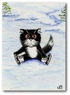 Black White Tuxedo Cat Kitten Ice Skating Winter Snow FuN - ArT LE Print ACEO