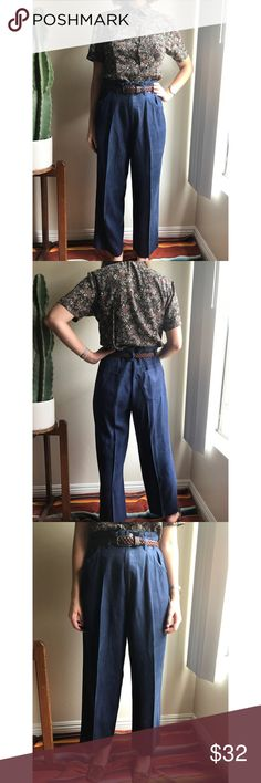 """Vintage✨100% silk trousers High waisted with lots of pleats at waistband, these work great oversized as paperbag waist trousers/pants. Lovely brushed silk falls beautifully, in a dark dusty navy blue, with interesting and functional suspender hardware and loops. Seen belted on 5'6"""" 26"""" waist model. Recommended for waists 26""""-29"""". Good vintage condition with minimal signs of wear. Vintage Pants Trousers"""