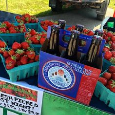 Freshly picked at the Farmer's Market this morning, some local strawberries and #ImmortalJelly. We're officially #weekendready! #drinkMIcider #MIcider