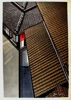 Junichiro Sekino's wooblock print of rooftops, Japan (via here)