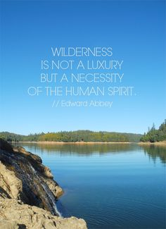 "{""Wilderness is not a luxury but a necessity of the human spirit."" // Edward Abbey}"