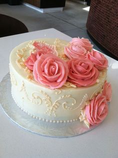 Pink rose buttercream cake... love this for a elegant baby shower :)