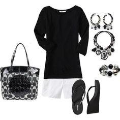 black 3/4 tee, white shorts
