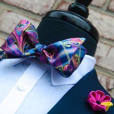 Bohemia bow tie Pink & Yellow Petiole Lapel Flower WWW.KINGKRAVATE.COM
