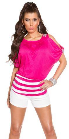 Camiseta murcielago rayado inferior Modelo  MXB467 Camiseta con mangas de murcielago adornada con brillantes en los hombros y diseño rayado en la parte inferior.  Composicion: 92% Viscose / 8% Elastane