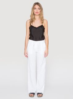 Johnny Was Clothing JWLA linen Wide Leg Pants in White