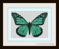 Cross stitch pattern  green butterfly  Instant by NeniDesign