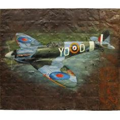 Gifts & Novelties | Army & Outdoors  WWII Spitfire Painting ***We cannot ship this item... Small Gifts, Gifts For Kids, Rustic Painting, Army Gifts, Woodland Camo, Loot Bags, Gift Vouchers, Wwii, Projects To Try
