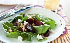 Roasted beet, goat cheese and walnut salad