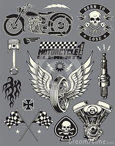 Motorcycle Vector Elements Set by Krookedeye, via Dreamstime