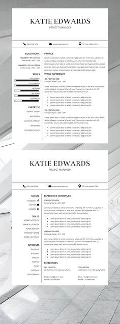 simple resume template | professional cv template | business resume | resume template for creative