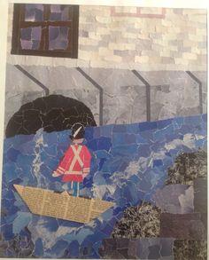 "H. C. Andersen ""Den standhaftige tinsoldat"" Collage i papir riv"